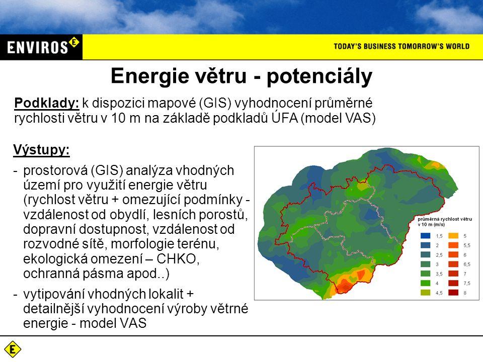 Energie větru - potenciály Podklady: k dispozici mapové (GIS) vyhodnocení průměrné rychlosti větru v 10 m na základě podkladů ÚFA (model VAS) Výstupy: