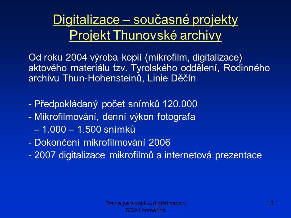 Stav a perspektivy digitalizace v SOA Litoměřice 13 Od roku 2004 výroba kopií (mikrofilm, digitalizace) aktového materiálu tzv.