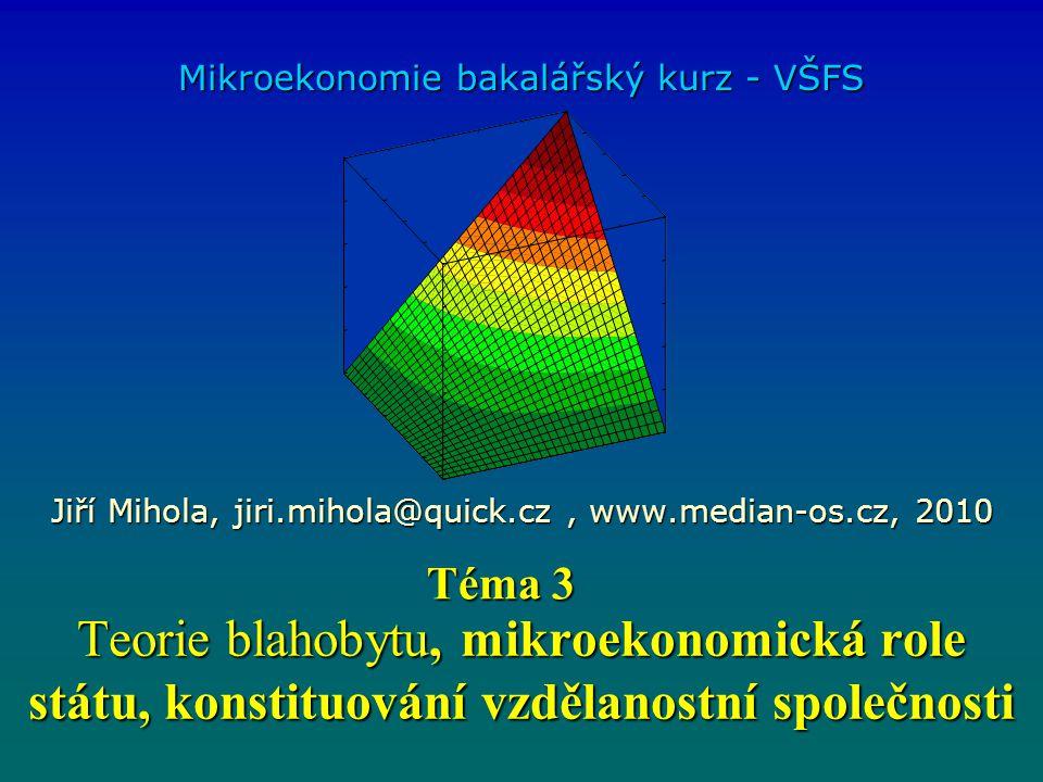 Teorie blahobytu, mikroekonomická role státu, konstituování vzdělanostní společnosti Mikroekonomie bakalářský kurz - VŠFS Jiří Mihola, jiri.mihola@qui