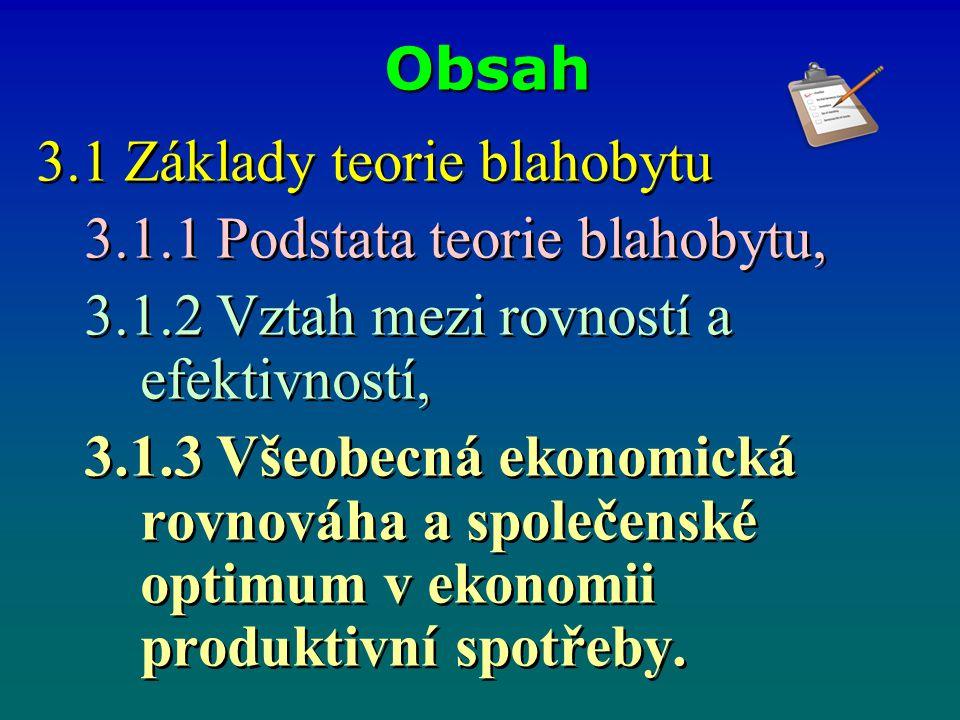 Obsah 3.1 Základy teorie blahobytu 3.1.1 Podstata teorie blahobytu, 3.1.2 Vztah mezi rovností a efektivností, 3.1.3 Všeobecná ekonomická rovnováha a společenské optimum v ekonomii produktivní spotřeby.
