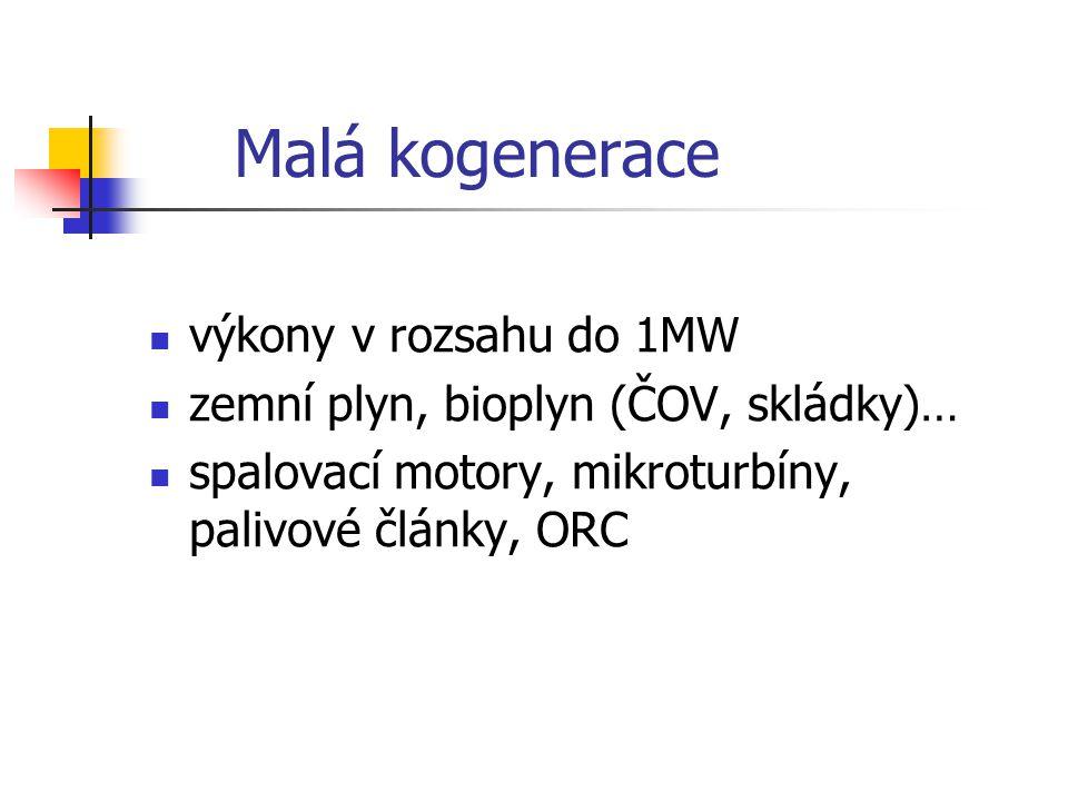 Malá kogenerace výkony v rozsahu do 1MW zemní plyn, bioplyn (ČOV, skládky)… spalovací motory, mikroturbíny, palivové články, ORC