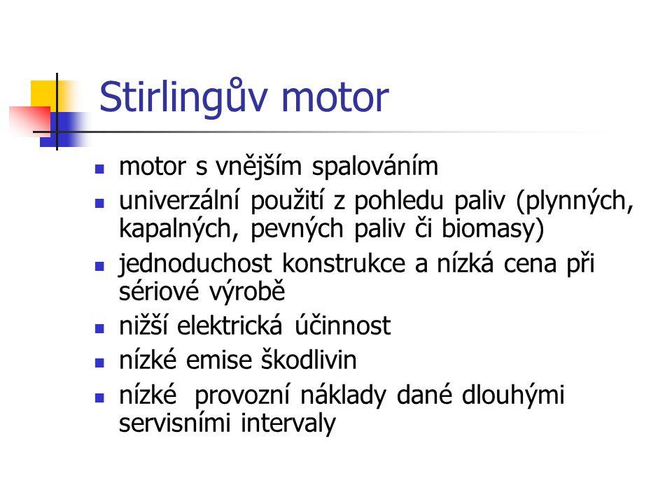 Stirlingův motor motor s vnějším spalováním univerzální použití z pohledu paliv (plynných, kapalných, pevných paliv či biomasy) jednoduchost konstrukc