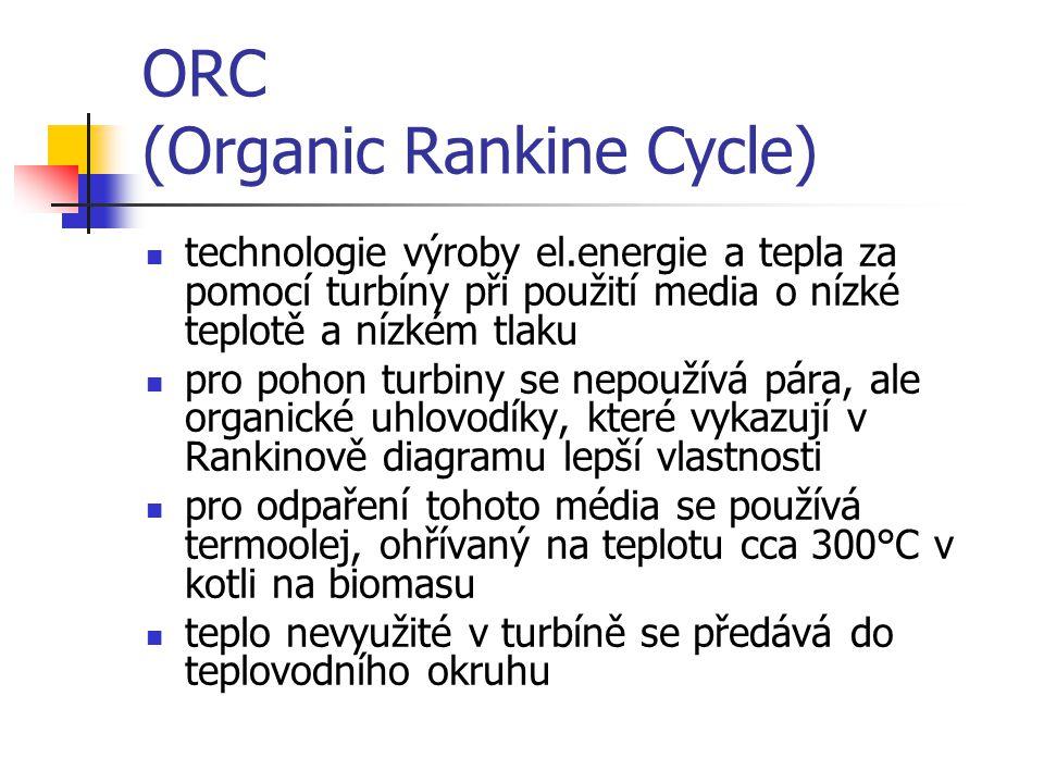 ORC (Organic Rankine Cycle) technologie výroby el.energie a tepla za pomocí turbíny při použití media o nízké teplotě a nízkém tlaku pro pohon turbiny se nepoužívá pára, ale organické uhlovodíky, které vykazují v Rankinově diagramu lepší vlastnosti pro odpaření tohoto média se používá termoolej, ohřívaný na teplotu cca 300°C v kotli na biomasu teplo nevyužité v turbíně se předává do teplovodního okruhu