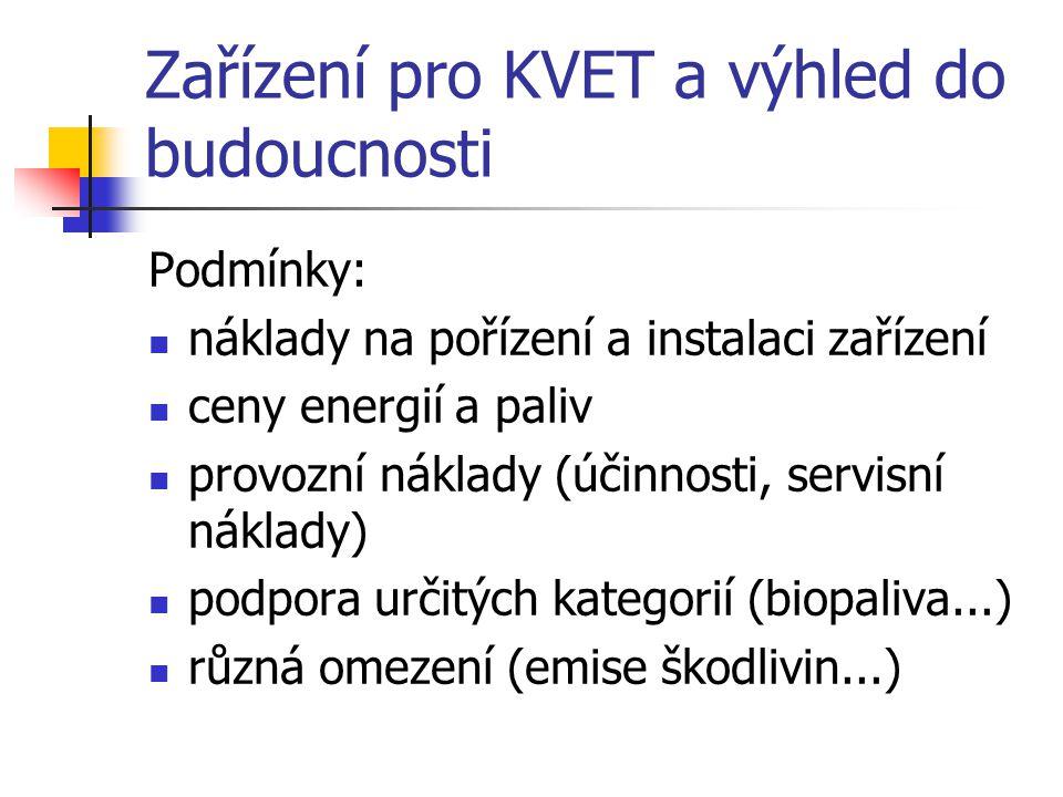Zařízení pro KVET a výhled do budoucnosti Podmínky: náklady na pořízení a instalaci zařízení ceny energií a paliv provozní náklady (účinnosti, servisn