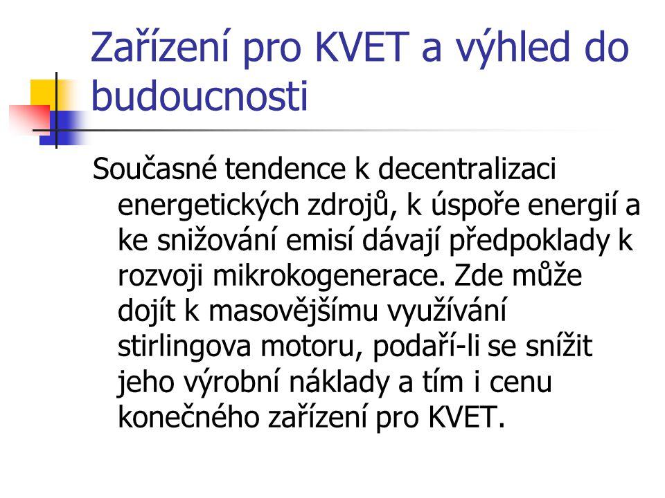 Zařízení pro KVET a výhled do budoucnosti Současné tendence k decentralizaci energetických zdrojů, k úspoře energií a ke snižování emisí dávají předpoklady k rozvoji mikrokogenerace.