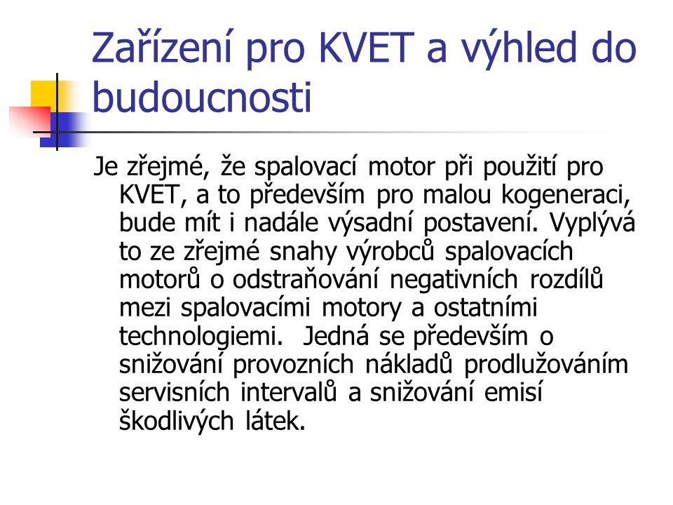Zařízení pro KVET a výhled do budoucnosti Je zřejmé, že spalovací motor při použití pro KVET, a to především pro malou kogeneraci, bude mít i nadále v