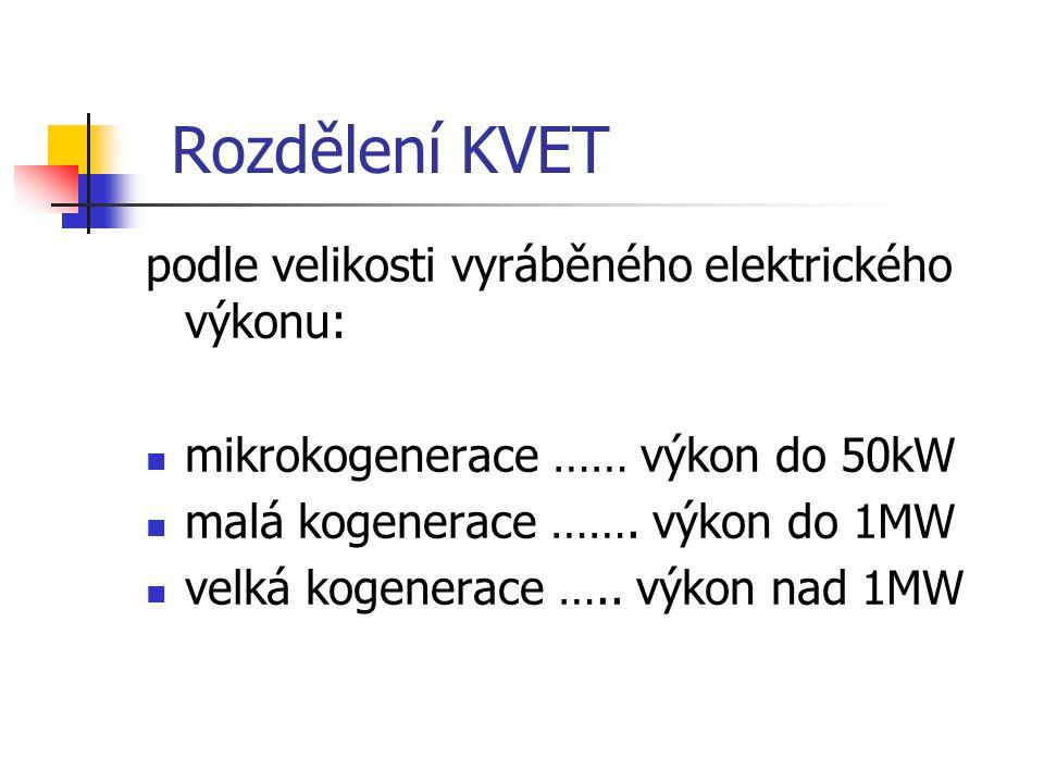 Rozdělení KVET podle velikosti vyráběného elektrického výkonu: mikrokogenerace …… výkon do 50kW malá kogenerace ……. výkon do 1MW velká kogenerace …..