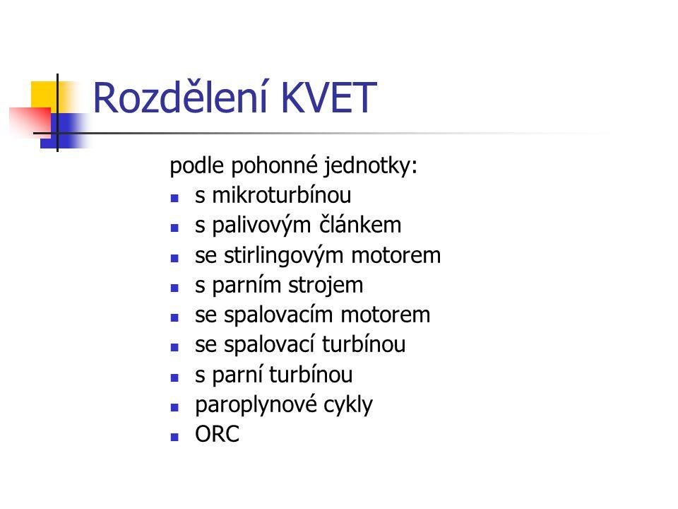 Rozdělení KVET podle pohonné jednotky: s mikroturbínou s palivovým článkem se stirlingovým motorem s parním strojem se spalovacím motorem se spalovací turbínou s parní turbínou paroplynové cykly ORC
