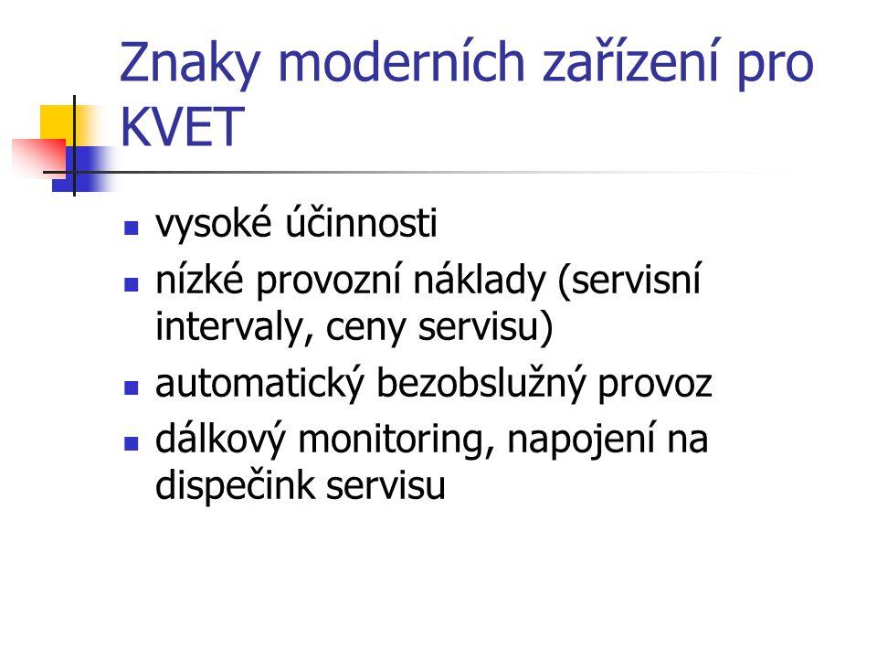 Znaky moderních zařízení pro KVET vysoké účinnosti nízké provozní náklady (servisní intervaly, ceny servisu) automatický bezobslužný provoz dálkový monitoring, napojení na dispečink servisu