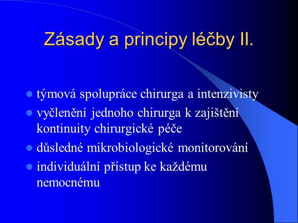 Zásady a principy léčby II. týmová spolupráce chirurga a intenzivisty vyčlenění jednoho chirurga k zajištění kontinuity chirurgické péče důsledné mikr