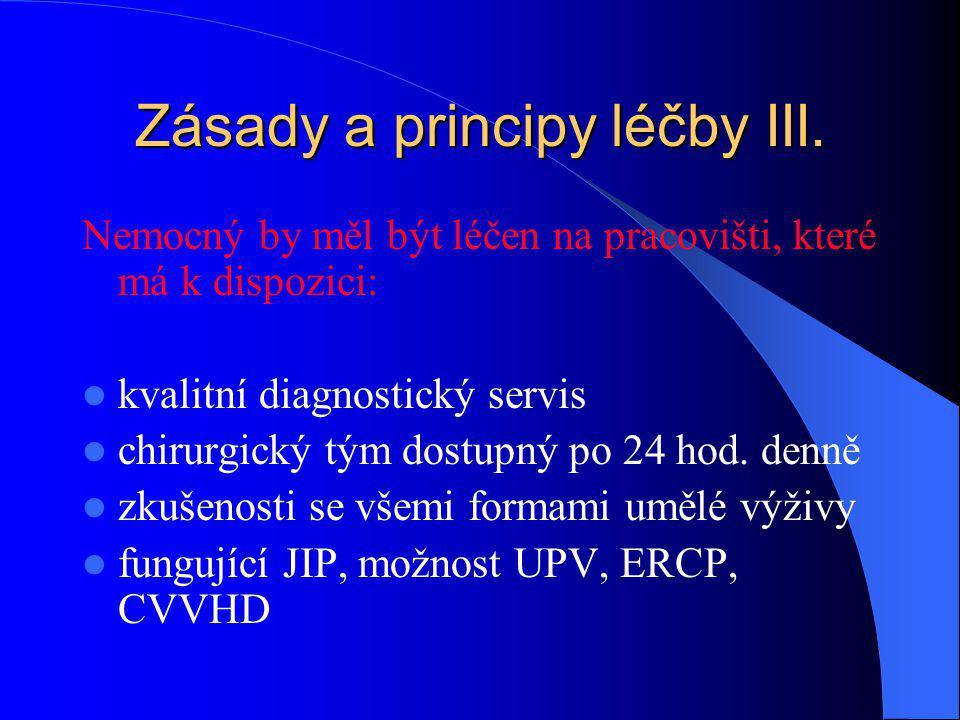 Zásady a principy léčby III. Nemocný by měl být léčen na pracovišti, které má k dispozici: kvalitní diagnostický servis chirurgický tým dostupný po 24