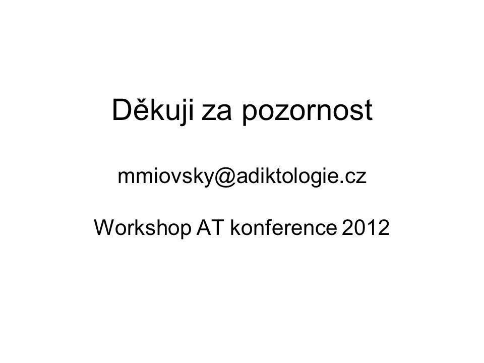Děkuji za pozornost mmiovsky@adiktologie.cz Workshop AT konference 2012