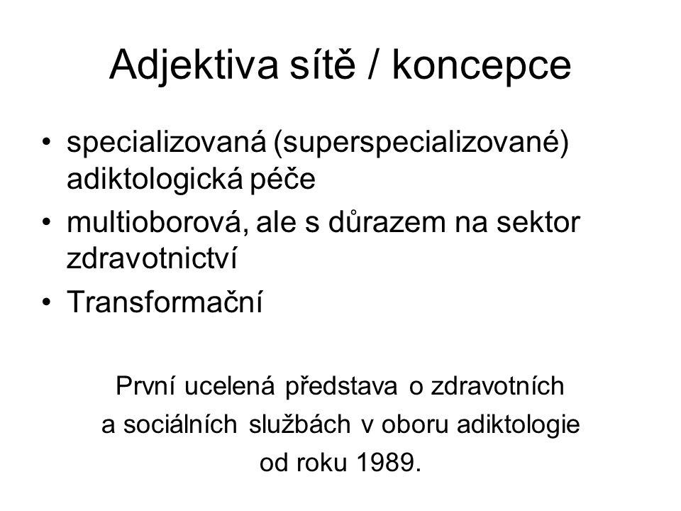 Adjektiva sítě / koncepce specializovaná (superspecializované) adiktologická péče multioborová, ale s důrazem na sektor zdravotnictví Transformační Pr
