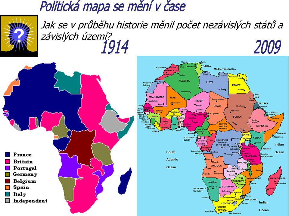 Jak se v průběhu historie měnil počet nezávislých států a závislých území?