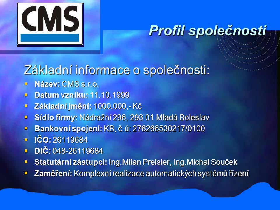 Profil společnosti Základní informace o společnosti:  Název: CMS s.r.o.  Datum vzniku: 11.10.1999  Základní jmění: 1000.000,- Kč  Sídlo firmy: Nád