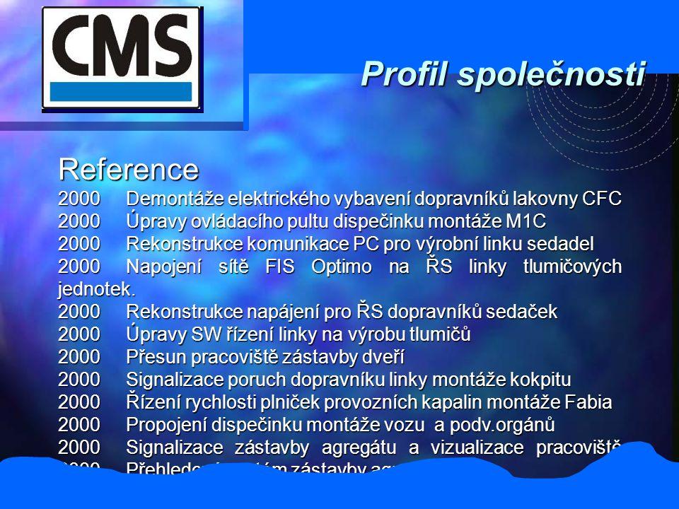 Profil společnosti Reference 2000Demontáže elektrického vybavení dopravníků lakovny CFC 2000Úpravy ovládacího pultu dispečinku montáže M1C 2000Rekonstrukce komunikace PC pro výrobní linku sedadel 2000Napojení sítě FIS Optimo na ŘS linky tlumičových jednotek.