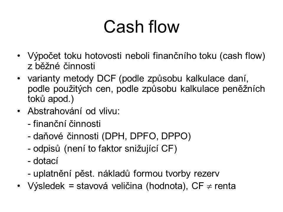 Cash flow Výpočet toku hotovosti neboli finančního toku (cash flow) z běžné činnosti varianty metody DCF (podle způsobu kalkulace daní, podle použitýc