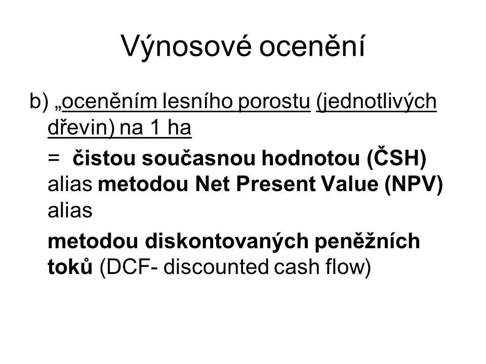 """Výnosové ocenění b) """"oceněním lesního porostu (jednotlivých dřevin) na 1 ha = čistou současnou hodnotou (ČSH) alias metodou Net Present Value (NPV) al"""