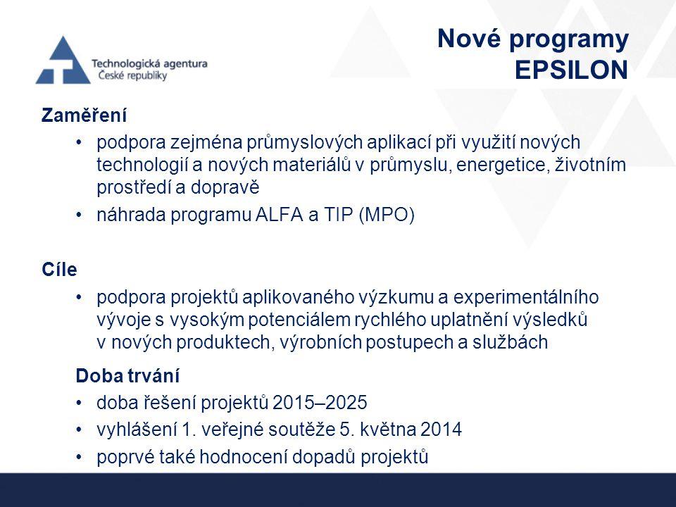 Nové programy EPSILON Zaměření podpora zejména průmyslových aplikací při využití nových technologií a nových materiálů v průmyslu, energetice, životním prostředí a dopravě náhrada programu ALFA a TIP (MPO) Cíle podpora projektů aplikovaného výzkumu a experimentálního vývoje s vysokým potenciálem rychlého uplatnění výsledků v nových produktech, výrobních postupech a službách Doba trvání doba řešení projektů 2015–2025 vyhlášení 1.