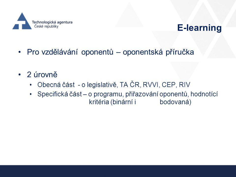 E-learning Pro vzdělávání oponentů – oponentská příručka 2 úrovně Obecná část - o legislativě, TA ČR, RVVI, CEP, RIV Specifická část – o programu, přiřazování oponentů, hodnotící kritéria (binární i bodovaná)