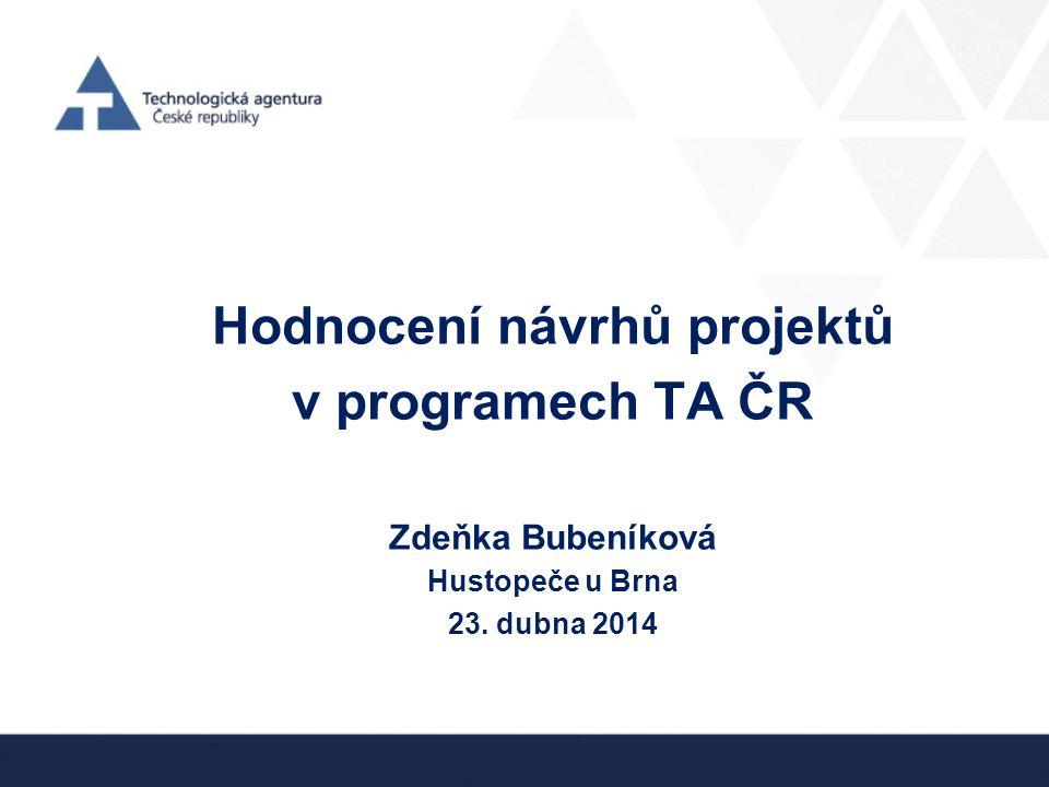 Hodnocení návrhů projektů v programech TA ČR Zdeňka Bubeníková Hustopeče u Brna 23. dubna 2014