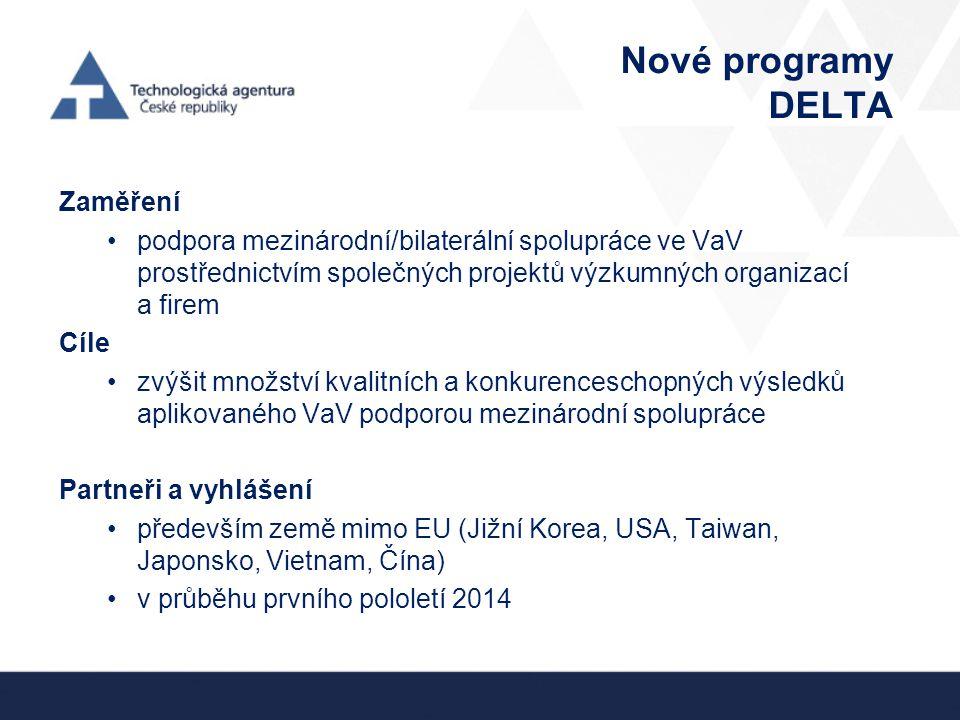 Nové programy DELTA Zaměření podpora mezinárodní/bilaterální spolupráce ve VaV prostřednictvím společných projektů výzkumných organizací a firem Cíle zvýšit množství kvalitních a konkurenceschopných výsledků aplikovaného VaV podporou mezinárodní spolupráce Partneři a vyhlášení především země mimo EU (Jižní Korea, USA, Taiwan, Japonsko, Vietnam, Čína) v průběhu prvního pololetí 2014