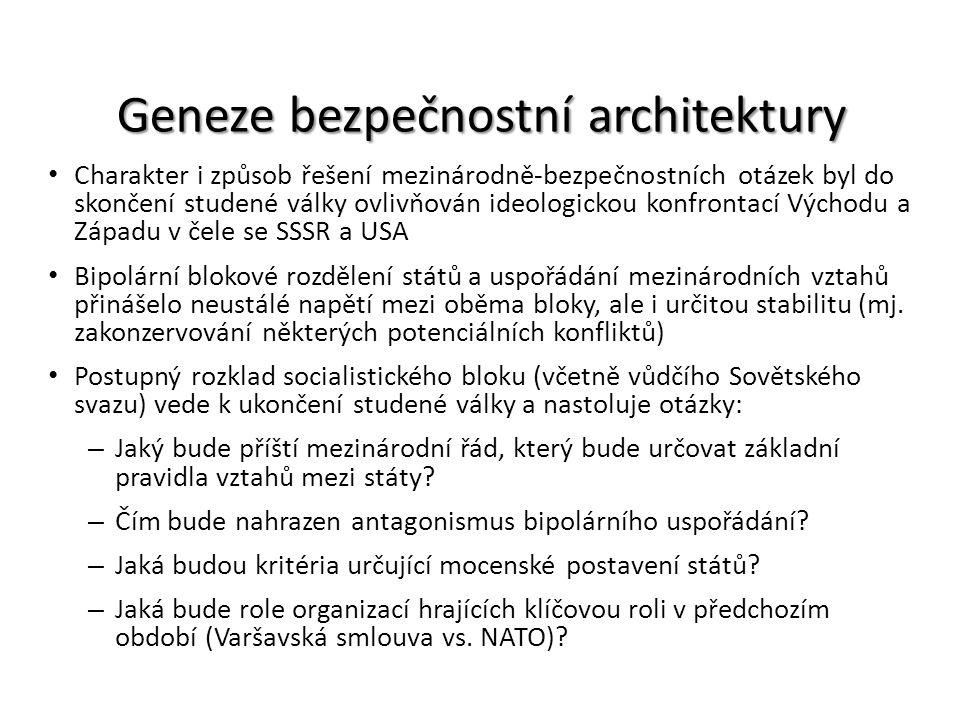 Geneze bezpečnostní architektury Charakter i způsob řešení mezinárodně-bezpečnostních otázek byl do skončení studené války ovlivňován ideologickou kon