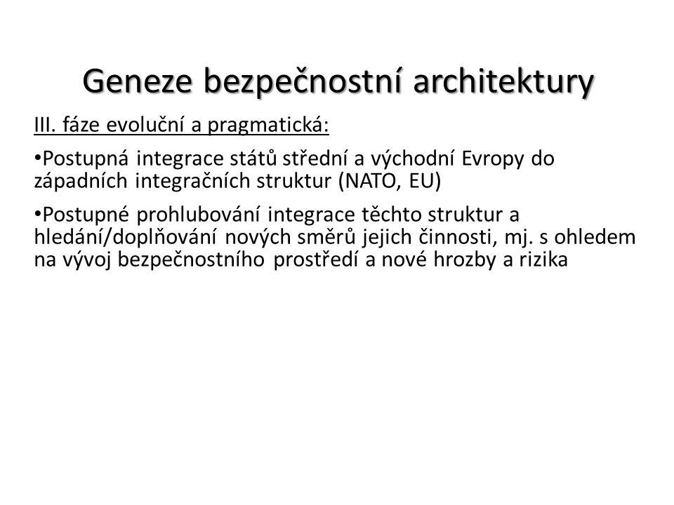 Geneze bezpečnostní architektury III. fáze evoluční a pragmatická: Postupná integrace států střední a východní Evropy do západních integračních strukt