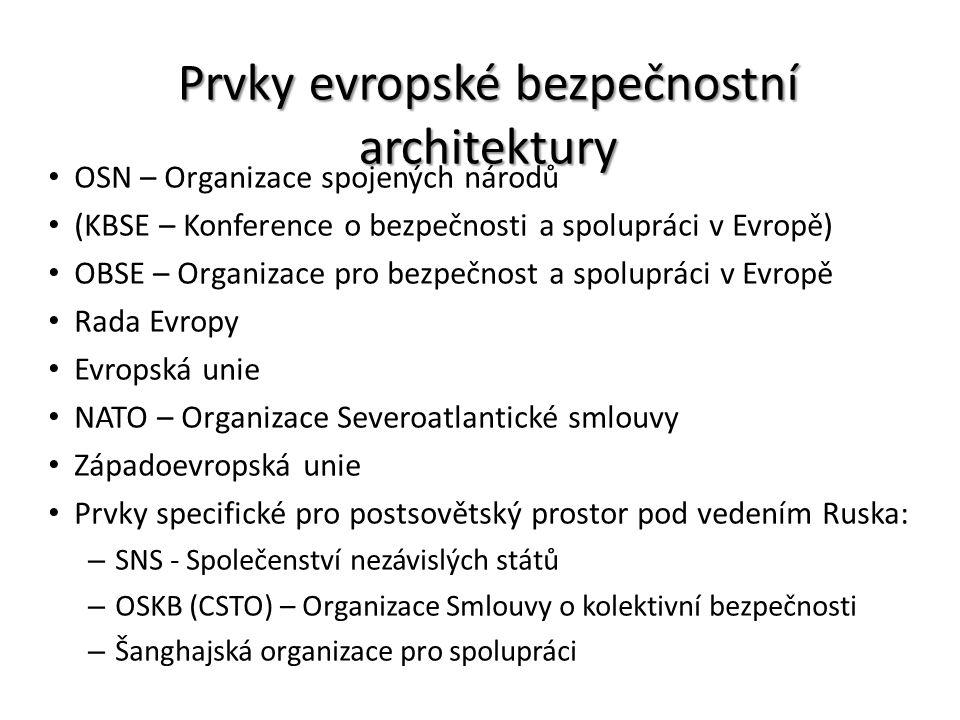 Prvky evropské bezpečnostní architektury OSN – Organizace spojených národů (KBSE – Konference o bezpečnosti a spolupráci v Evropě) OBSE – Organizace p