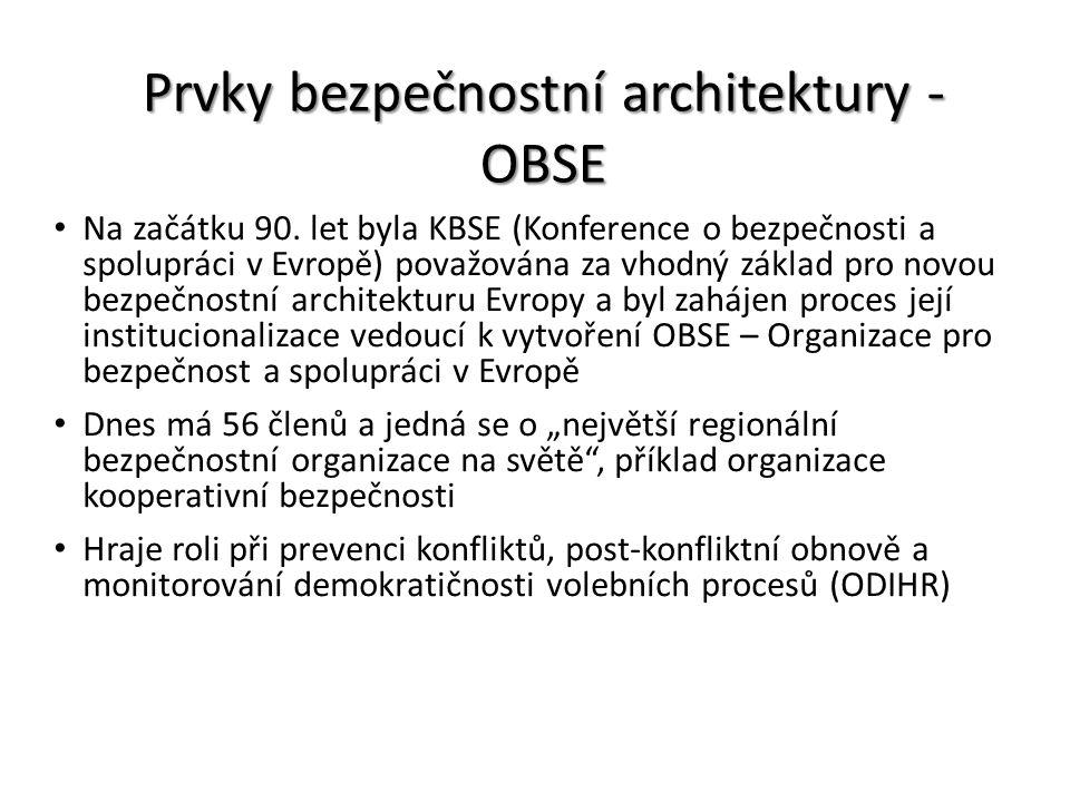 Prvky bezpečnostní architektury - OBSE Na začátku 90. let byla KBSE (Konference o bezpečnosti a spolupráci v Evropě) považována za vhodný základ pro n