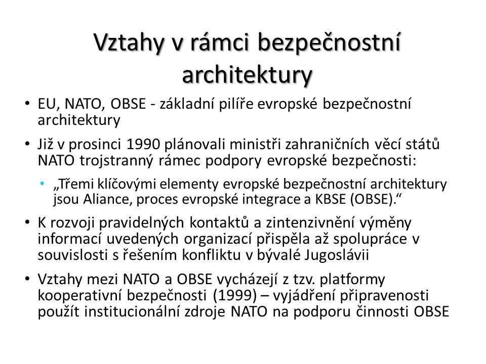 Vztahy v rámci bezpečnostní architektury EU, NATO, OBSE - základní pilíře evropské bezpečnostní architektury Již v prosinci 1990 plánovali ministři za