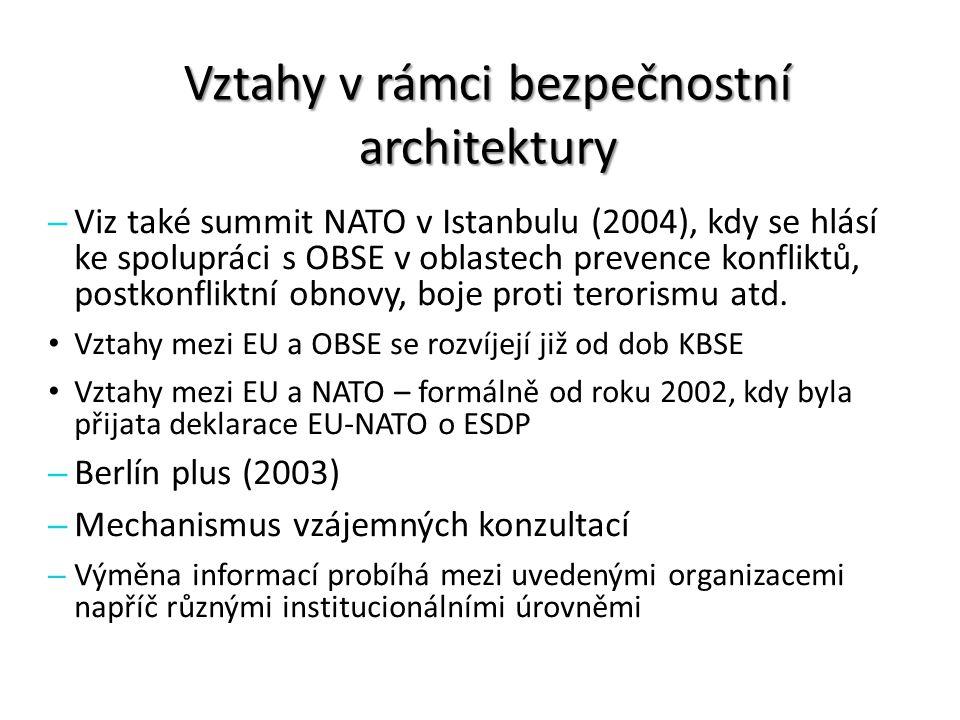 Vztahy v rámci bezpečnostní architektury – Viz také summit NATO v Istanbulu (2004), kdy se hlásí ke spolupráci s OBSE v oblastech prevence konfliktů,