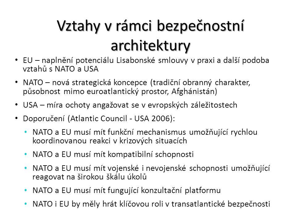 Vztahy v rámci bezpečnostní architektury EU – naplnění potenciálu Lisabonské smlouvy v praxi a další podoba vztahů s NATO a USA NATO – nová strategick