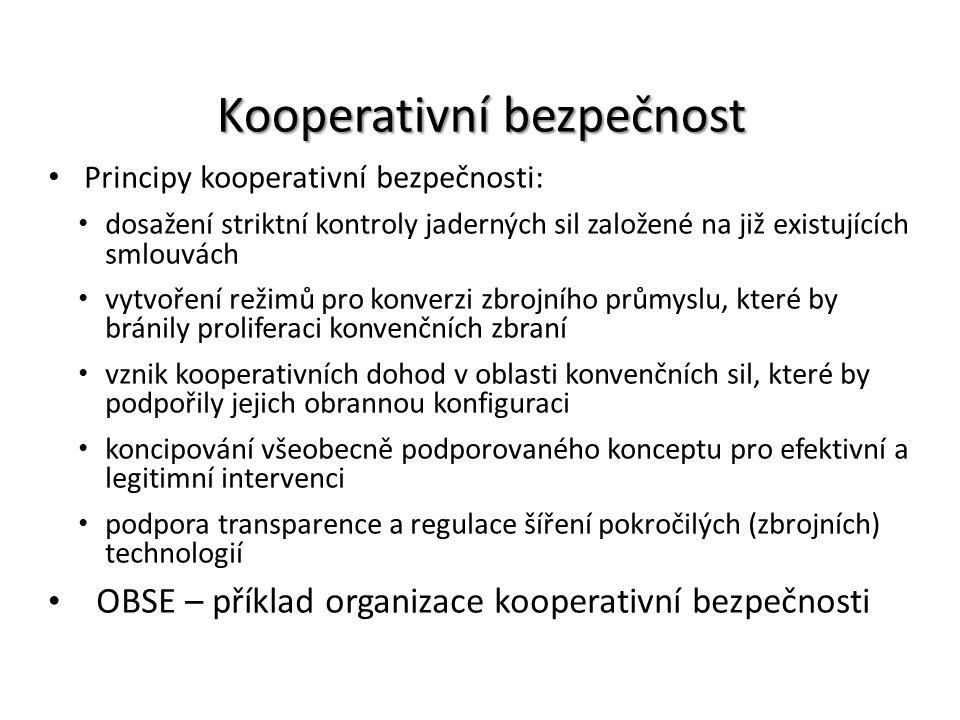 Kooperativní bezpečnost Principy kooperativní bezpečnosti: dosažení striktní kontroly jaderných sil založené na již existujících smlouvách vytvoření r