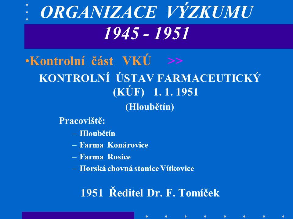 ORGANIZACE VÝZKUMU 1945 - 1951 Kontrolní část VKÚ >> KONTROLNÍ ÚSTAV FARMACEUTICKÝ (KÚF) 1.