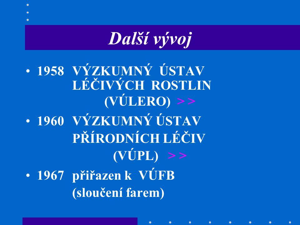 Další vývoj 1958VÝZKUMNÝ ÚSTAV LÉČIVÝCH ROSTLIN (VÚLERO) > > 1960VÝZKUMNÝ ÚSTAV PŘÍRODNÍCH LÉČIV (VÚPL) > > 1967přiřazen k VÚFB (sloučení farem)