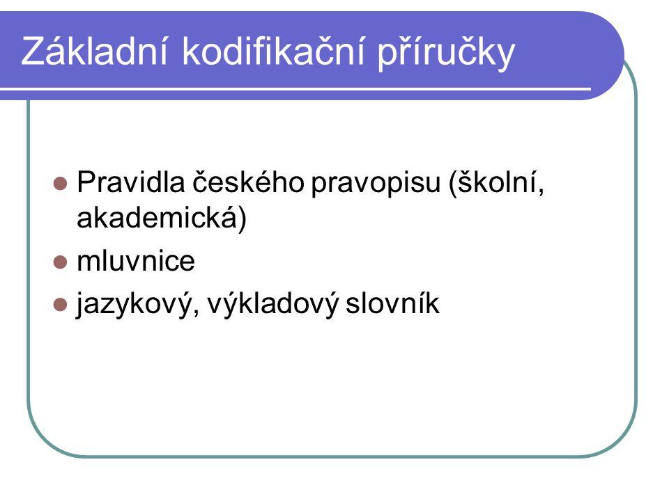 Základní kodifikační příručky Pravidla českého pravopisu (školní, akademická) mluvnice jazykový, výkladový slovník