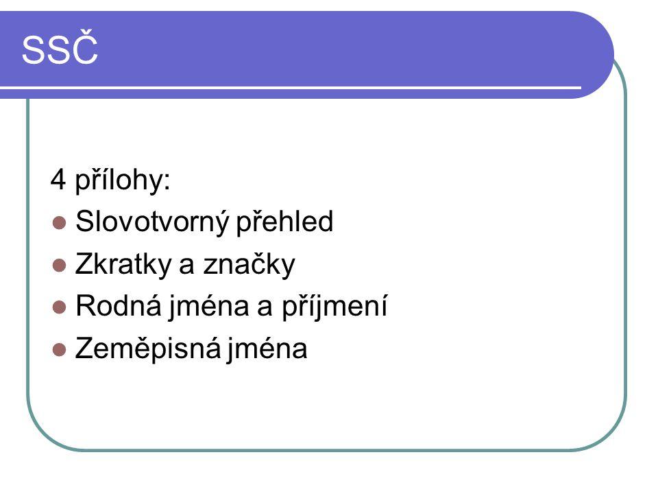 SSČ 4 přílohy: Slovotvorný přehled Zkratky a značky Rodná jména a příjmení Zeměpisná jména