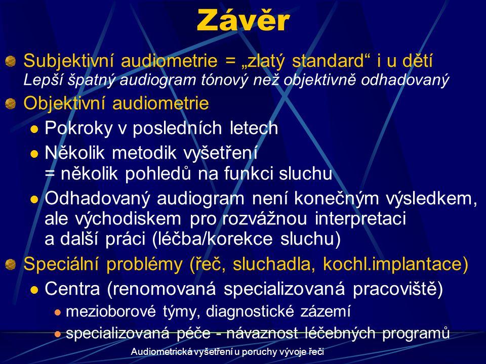 """Audiometrická vyšetření u poruchy vývoje řeči Závěr Subjektivní audiometrie = """"zlatý standard"""" i u dětí Lepší špatný audiogram tónový než objektivně o"""