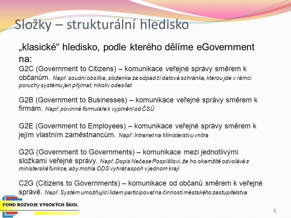 Současnost eGovernmentu v ČR Neexistuje strategie ani koncepce eGovernmentu na papíře = budoucnost je nejistá Pravděpodobně se tedy pojede podle EU rámce a akčního plánu (což je jedině dobře, umožní to být v tomto směru v souladu s ostatními zeměmi) Současné priority (dle náměstka Ledvinky, MV ČR, říjen 2012):náměstka Ledvinky Ladění a zvyšující se využívání základních registrů (ZR) Pyramidální systém programů/u rozvoje eGovernmentu v novém programovacím období 2013 - 2020 (vrcholkem pyramidy ZR na MV ČR, takže už žádné individuální sektorové programy = centralizace) Cloudová státní ICT infrastruktura (=velké zastoupení outsourcingu) Cloudové státní služby a aplikace eGovernmentu Autorizace a autentizace (eID infrastruktura) Otevřený přístup k datovým sadám veřejné správy