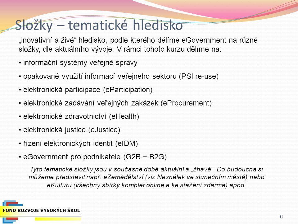 Současnost eGovernmentu v ČR Zodpovědnou institucí je zatím Ministerstvo Vnitra ČR Pozn.