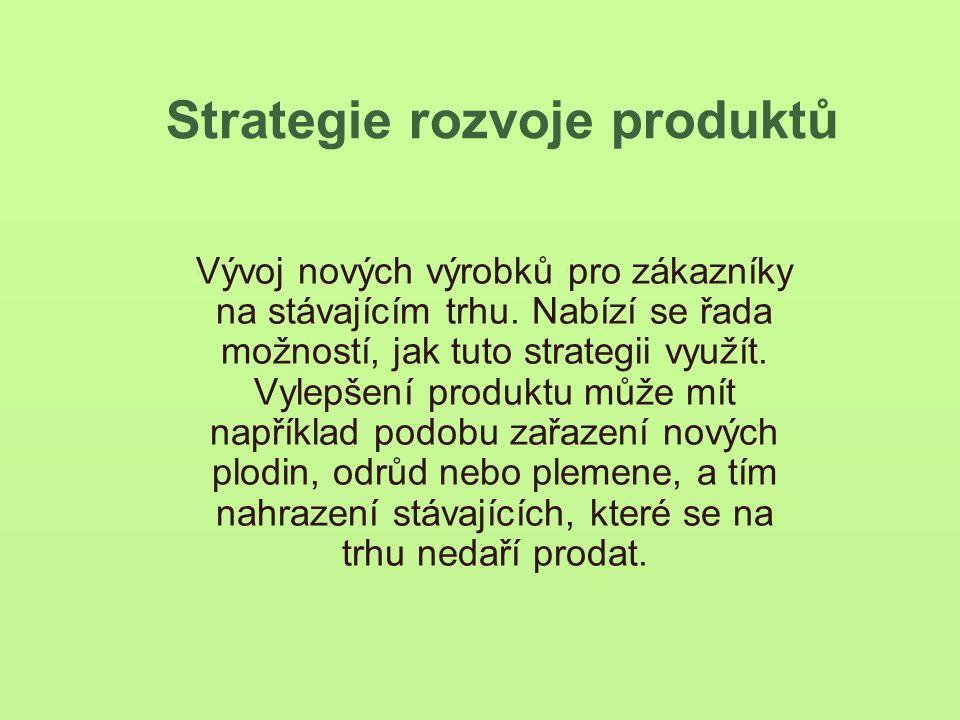 Strategie rozvoje produktů Vývoj nových výrobků pro zákazníky na stávajícím trhu.