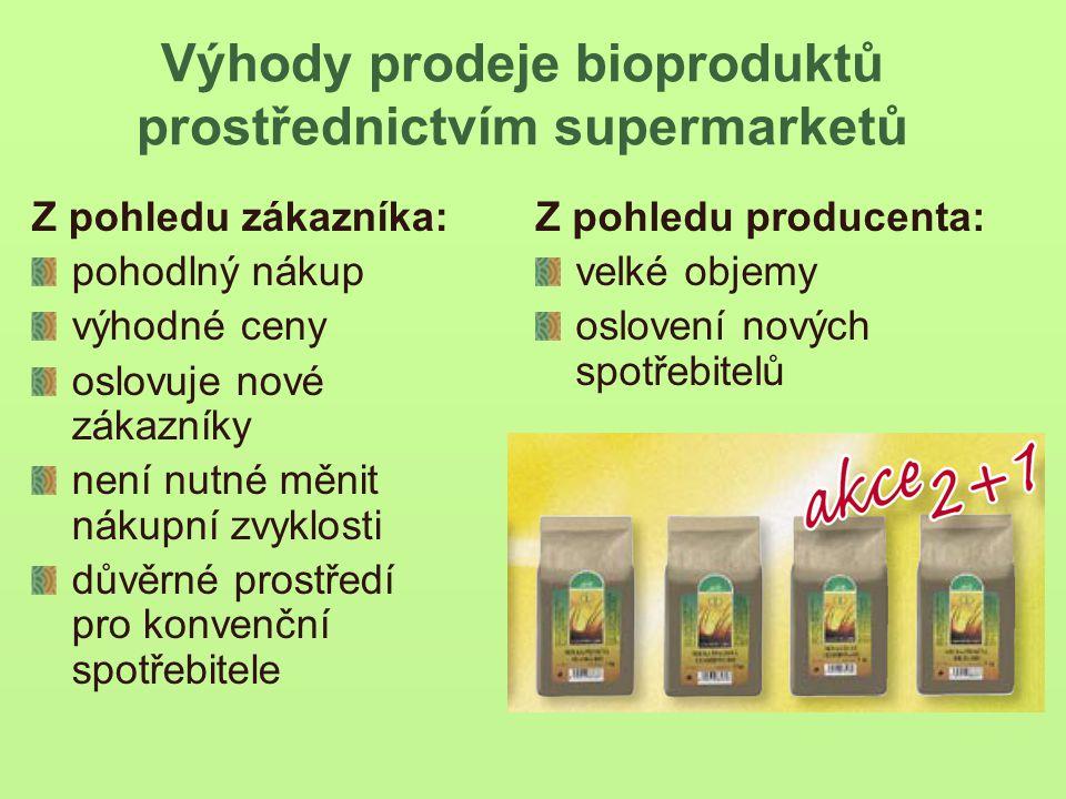 Výhody prodeje bioproduktů prostřednictvím supermarketů Z pohledu zákazníka: pohodlný nákup výhodné ceny oslovuje nové zákazníky není nutné měnit nákupní zvyklosti důvěrné prostředí pro konvenční spotřebitele Z pohledu producenta: velké objemy oslovení nových spotřebitelů