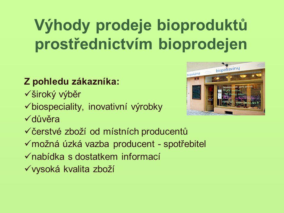 Výhody prodeje bioproduktů prostřednictvím bioprodejen Z pohledu zákazníka: široký výběr biospeciality, inovativní výrobky důvěra čerstvé zboží od místních producentů možná úzká vazba producent - spotřebitel nabídka s dostatkem informací vysoká kvalita zboží