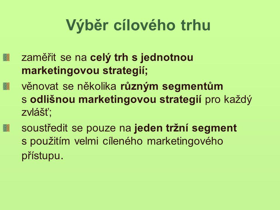 Výběr cílového trhu zaměřit se na celý trh s jednotnou marketingovou strategií; věnovat se několika různým segmentům s odlišnou marketingovou strategií pro každý zvlášť; soustředit se pouze na jeden tržní segment s použitím velmi cíleného marketingového přístupu.