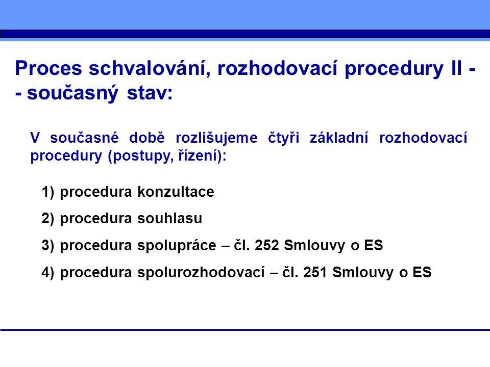 Proces schvalování, rozhodovací procedury II - - současný stav: V současné době rozlišujeme čtyři základní rozhodovací procedury (postupy, řízení): 1)