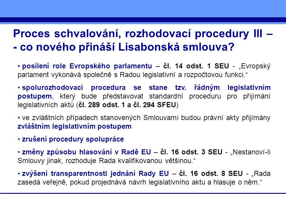 """Proces schvalování, rozhodovací procedury III – - co nového přináší Lisabonská smlouva? posílení role Evropského parlamentu – čl. 14 odst. 1 SEU - """"Ev"""