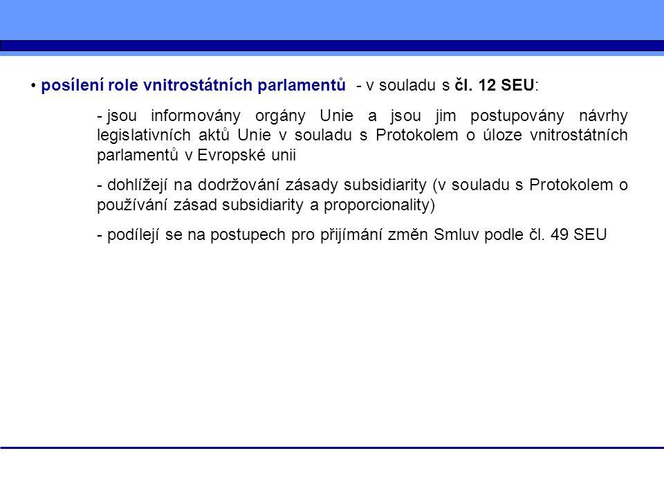 posílení role vnitrostátních parlamentů - v souladu s čl. 12 SEU: - jsou informovány orgány Unie a jsou jim postupovány návrhy legislativních aktů Uni