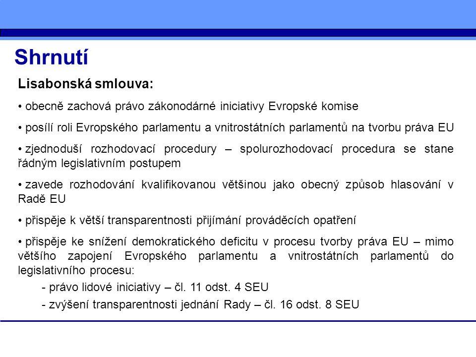 Shrnutí Lisabonská smlouva: obecně zachová právo zákonodárné iniciativy Evropské komise posílí roli Evropského parlamentu a vnitrostátních parlamentů