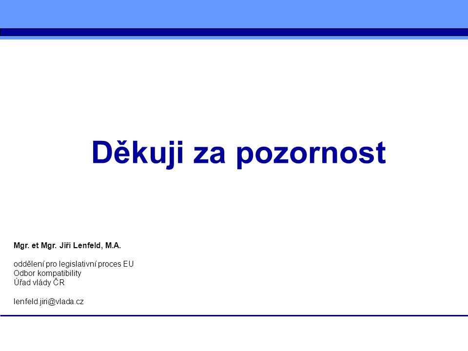 Děkuji za pozornost Mgr. et Mgr. Jiří Lenfeld, M.A. oddělení pro legislativní proces EU Odbor kompatibility Úřad vlády ČR lenfeld.jiri@vlada.cz